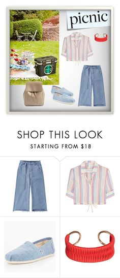 """""""Let's go to the picnic!"""" by abedul ❤ liked on Polyvore featuring Post-It, Solid & Striped, TOMS, MANGO and Sole Society"""