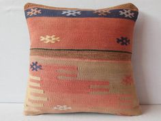 Pretty Red Kilim Pillow Turkish accent pillow throw red by DECOLIC, $58.00