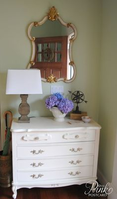 *PinkPostcard.*- entry way makeover with French Provincial dresser and new accessories