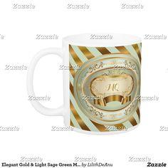 Elegant Gold & Light Sage Green Monogram Label 3 Coffee Mug