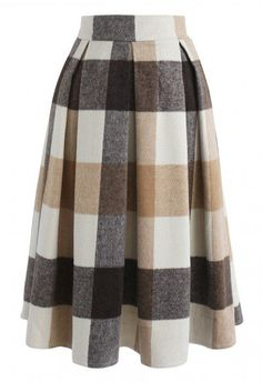 Greatest Embrace Check Wool-Blend Midi Skirt in Light Tan - Retro, Indie and Unique Fashion Led Dress, Dress Skirt, Midi Skirt, Tan Skirt, Skirt Outfits, Cool Outfits, Unique Fashion, Vintage Fashion, Hijab Fashion