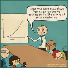 Work cartoons and business humor about presentations
