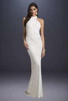 Lattice-Beaded Halter Neck Sheath Wedding Dress | David's Bridal