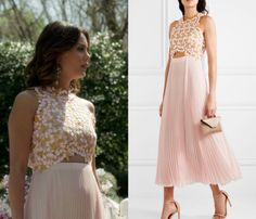 """Crystal Flores (Nathalie Kelley) wears this pink pleated skirt embroidered midi dress in this episode of Dynasty, """"I Hardly Recognized You"""". It is the Giambattista Valli Guipure lace and pleated silk-chiffon midi dress."""