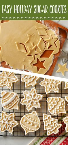 Pretty decorative cookies-Arie No need to soften the butter or chill the dough for these cookies! These easy and foolproof sugar cookies are perfect for Christmas and Holiday baking! Rolled Sugar Cookies, Sugar Cookies Recipe, Holiday Cookies, Holiday Desserts, Holiday Baking, Holiday Treats, Christmas Baking, Holiday Recipes, Cookie Recipes