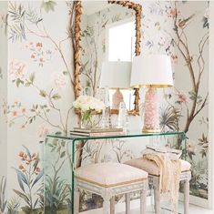 soft chinoiserie mural on powder blue, with blush and gold accents