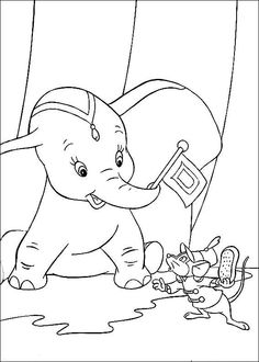 Dumbo And Tim 2 Coloring Page Free Printable Pages For Toddlers Preschool Or Kindergarten Children Enjoy This