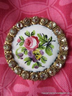 RP: Hand Painted Enamel Button with Paste Border Cool Buttons, Vintage Buttons, Vintage Mannequin, Button Button, Beaded Purses, Sewing Notions, Pansies, Fun Crafts, Purpose