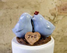 Customized Light Blue Love Bird Cake Topper by danceswithclay, $50.00