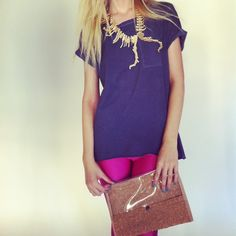 pink 80s leggings with clear cork clutch bag