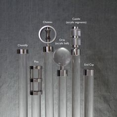 Chantilly, Pisa, Chateau, Orta (acrylic ball), Castile (acrylic segments) and End Cap   curtain poles and finials