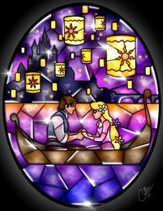 Diamond Painting Abstract Rapunzel and Flynn Tangled Kit Disney Stained Glass, Stained Glass Christmas, Stained Glass Art, Fused Glass, Disney Tangled, Disney Magic, Disney Art, Tangled Rapunzel, Rapunzel Room