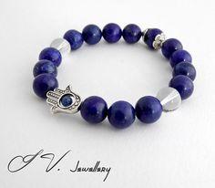 Lapis Lazuli & Crystal Hand of Fatima Bracelet by IvJewellery