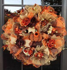 Autumn Ruffle Design Deco Mesh Wreath in Orange, Chocolate/Copper and Burlap via Etsy