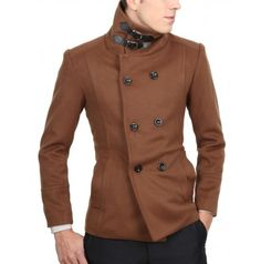 Casual Banded Neck Wool Jacket