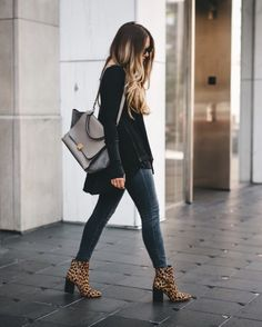 Leopard ankle boots are at the top of my list! Leopard Ankle Boots, Leopard Print Boots, Fall Winter Outfits, Autumn Winter Fashion, Latest Fashion For Women, Womens Fashion, Fashion Trends, Fashion Top, Fashion Outfits