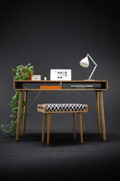 Modern Oak Desk with Open Cubbies Mid Century Design by Habitables