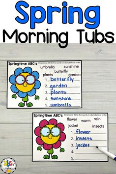 Are you looking for a better way to start the day? These Spring Morning Tubs are an engaging and entertaining way to start your day! Your preschoolers, kindergartners, or first graders will use these May Morning Tubs to learn and review 5 literacy concepts like alphabetical order. This set of fun, hands-on Spring activities also include 5 math morning tubs. Click on the picture to learn more about these morning work activities! #morningtubs #alphabeticalorder #springmorningtubs #abcorder