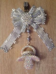 Romany diamante Crystal Bling Baby girl boys Dummy Pram Hanging Charm.