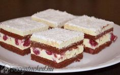 Cakes by Rebeca: Prajitura cu visine si cocos Hungarian Desserts, Romanian Desserts, Hungarian Recipes, Fruit Recipes, My Recipes, Cookie Recipes, Dessert Recipes, Ital Food, Eclairs