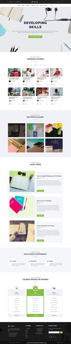 Genius is clean and modern design #PSD template for online #courses and #education institutes website with 13 layered PSD pages to live preview & download click on Visit