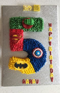 Avenger themed cake. Buttercream icing and fondant figures