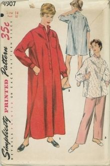 An unused original ca. 1950's Simplicity Pattern 4907.  Night shirt in two lengths and two-piece pajamas, Mother and Daughter Fashion:  Short and long night shirt and pajama top feature a small rounded collar, a pocket on left front and long sleeves pleated and gathered to a band.  Band trims night shirts and pajama top at center front.  Slits at lower edge of long night shirt are curved.  Pajama pants have elastic casing at waistline.  Pants, collar, and wristbands of pajamas are…