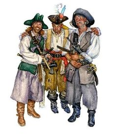 Watercolor pirates by Don Maitz Pirate Crafts, Pirate Art, Pirate Life, Pirate Ships, Pirate Decor, Pirate Theme, Homemade Pirate Costumes, Peter Pan Art, Famous Pirates