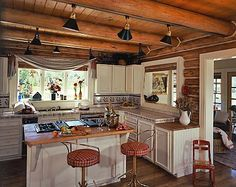Practical Lighting Tips for Log Homes - All For Decoration Log Cabin Kitchens, Log Cabin Homes, Farmhouse Kitchens, Cabin Lighting, Lighting Ideas, Classic Kitchen, Cabin In The Woods, Cabin Interiors, Home Interior
