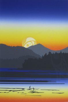 Tofino Sunrise by NA Artist - Roy Henry Vickers (Tsimshian, Haida and Heiltsuk) Native Art, Native American Art, Haida Gwaii, Indigenous Art, Seascape Paintings, Canadian Artists, Canada, Vancouver Island, Island Life