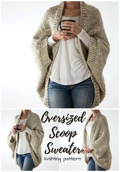 This simple knitting pattern for an oversized scoop sweater looks so easy and warm for the fall winter season ahead Love this cozy look knit pattern knitting yarn crafts sweater cardigan cocoon scoop cozy craftevangelist Poncho Style, Tricot Simple, Cocoon Cardigan, Sweater Cardigan, Knit Cardigan Pattern, Shrug Knitting Pattern, Knit Shrug, Crochet Sweater Patterns, Knit Headband Pattern