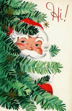 #retrochristmas Peeking Santa. Vintage Christmas Card. Christmas Hello.