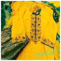 Perfect for the season ❤️ We are in love with this piece  A pretty yellow kurta  with the bling of golden zardozi detailing! Teamed up with green brocade pants! What do you think of this one? Now this piece can be done in any colour or we can take inspiration from this and create something new for you! DM or whatsapp for details Shipping worldwide For more designs and updates follow us on facebook at: www.facebook.com/nazakatjal #yellow #green #pastel  #brocade #antique  #royal #zardozi…