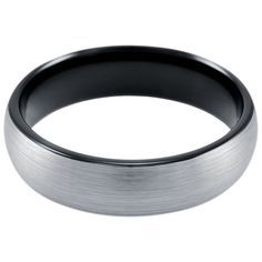 Designed with a brushed top and a high polish black interior. This ring makes the perfect classy and modern mens wedding band. Crafted out of the finest tungste