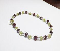 Garnet and Peridot Beadwork Stretch Bracelet by tzteja on Etsy, $15.00