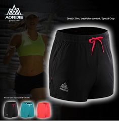 6ce10395b7 AONIJIE Hot Women Sports Gym Shorts Summer female Fitness Morning Exercise  Running Lined Short Pants Knickers