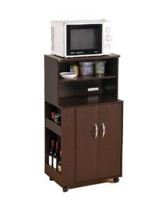 Amazon.com - Kitchen Microwave Cart with Spice Rack and Electrical Socket Espresso Finish - Kitchen Storage Carts