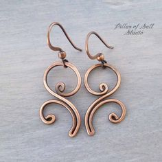 Solid Copper Wire wrapped earrings - wire wrapped jewelry handmade - Boho earthy rustic copper jewelry flourish spiral - Gifts for her Wire Wrapped Earrings, Copper Earrings, Copper Jewelry, Copper Wire, Boho Jewelry, Pendant Jewelry, Handmade Jewelry, Fashion Jewelry, Country Jewelry