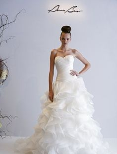 Sweetheart A-Line Wedding Dress  with Dropped Waist in Organza.   Bridal Gown Style Number:32591273