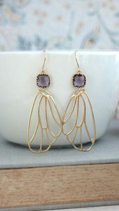 Gold Angel Filigree Wings Earrings. Purple Egg Plant Gold Filigree Earrings. Purple Wedding Bridesmaids Gift. By Marolsha.