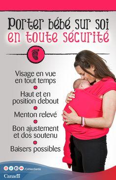 Votre bébé aime-t-il le porte-bébé? Obtenez des conseils pour porter votre bébé en toute sécurité ici : http://www.canadiensensante.gc.ca/healthy-living-vie-saine/infant-care-soins-bebe/slings-porte_bebes-fra.php?utm_source=pinterest_hcdns&utm_medium=social_fr&utm_content=Oct9_sling&utm_campaign=social_media_14