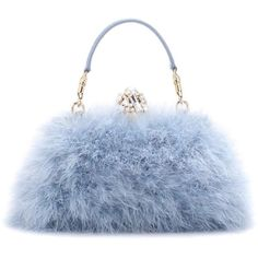 Dolce & Gabbana Vanda Feather Clutch ($3,260) ❤ liked on Polyvore featuring bags, handbags, clutches, blue, dolce gabbana purses, feather handbag, feather purse, blue handbags and dolce gabbana handbags