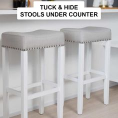 Nathan James Hylie 29 in. Gray Fabric Cushion White Finish Nailhead Wood Pub-Height Counter Bar Stool 21401 - The Home Depot White Kitchen Stools, Stools For Kitchen Island, Counter Height Bar Stools, Bar Counter, Island Chairs, Kitchen Counters, Silver Bar Stools, White Bar Stools, Bar Stools With Backs