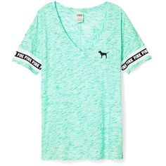 Victoria's Secret PINK Boyfriend V-Neck Tee Light Blue ($46) ❤ liked on Polyvore featuring tops, t-shirts, shirts, pink, green t shirt, light blue t shirt, pink t shirt, v-neck shirts and boyfriend tee