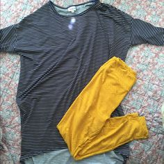 Mustard Lularoe Leggings OS These leggings are buttery soft and so comfortable. They are a mustard yellow color with a lighter mustard yellow design (see pic). One size in Lularoe fits 0-12. Wash cold and hang dry. LuLaRoe Pants Leggings