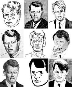Portraits of Robert F. Kennedy. (Left to right, top to bottom: Leanne Shapton, Andrea Ventura, Tina Berning, Vivienne Flesher, Thomas Libetti, Laura Carlin, Paul Davis, Brian Cronin, Isabelle Arsenault.) - New York Times