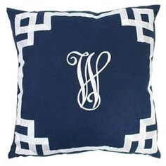 Monogrammed Navy Pillow with Ribbon Border Loving the fret work border on these classic pillows. www.zhush.com