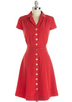 Taos Tour Dress by Myrtlewood - Red, Solid, Buttons, Casual, Vintage Inspired, Shirt Dress, Short Sleeves, Woven, Better, Exclusives, Privat...