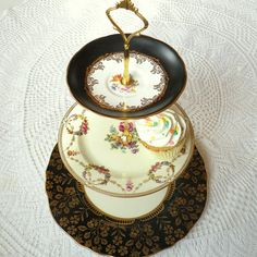 highteaforalice's 3 tier stand on Etsy.com  upcycled, granny chic, romantic, pretty, tea party, plates, wedding