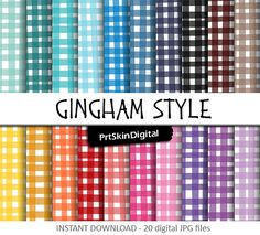 Gingham Style Digital Paper with freestyle gingham checkered background in 20 different shades for scrapbooking, invitations, cards, crafts